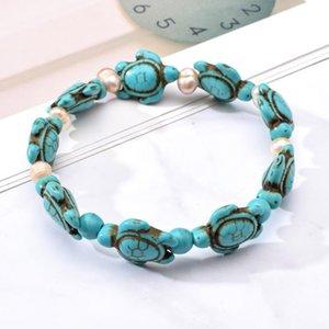 Bracciale Strand Bohemia Stone naturale per gli uomini delle donne Perline perla della tartaruga fascini elastico Friendship Bracelets Beach Jewelry