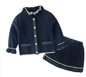 Çocuk giyim ilkbahar ve sonbahar yeni stil 0-3 yaşında yabancı stil kız bebek saf pamuk örme hırka + pileli etek elbise temperam