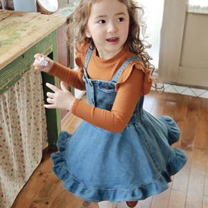 INS Fashion New Kids Denim Suspender Dress Quality Children Falbala Soft Cowboy Dress Korean Style Girls ruffle vest denim dress
