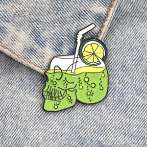 Cartoon Skull Ghost Enamel Brooches Badges Drinking Skeleton BOO Punk Gothic Accessories Clothes Backpack Lapel Pins Friend Gift