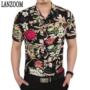 TOP Brand Design manches courtes pour hommes Chemises de luxe élégant Noble Big Flower Imprimer Casual Shirt Robe Hommes Printemps Eté Mens Top