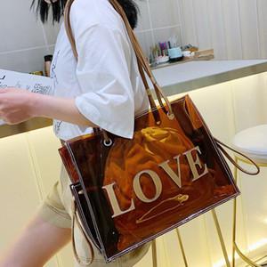 ЛЮБОВЬ Топ-ручка сумки Большой мешок Tote Clear для женщин сумки Transparent Jelly Сумочка 2020 Новая мода сумки