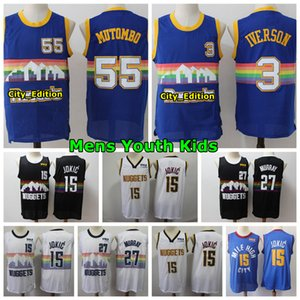 Vintage Mens Youth Kids 55 Dikembe Mutombo 3 Allen Iverson Basketball Jersey Stitched 27 Murray 15 Jokic Youth Denver