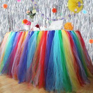 Party Tutu Mesh Table Skirt Tablecloth Halloween Christmas Birthday Party Wedding Tableware Cloth Baby Shower Home Decor