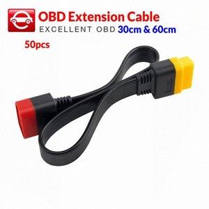 X431 V에 대한 50PCS OBD 연장 케이블 / V + / PRO / PRO 3 / Easydiag 3.0 길이 30cm 60cm v0Of #