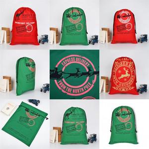 Северный олень Северный полюс Хлопок Санта Sack С Рождеством украшения Drawstring сумка украшения 2020 Тяжелое мешок подарков конфеты 11 9by C2