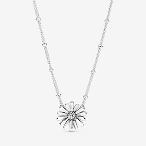 New Arrival 100% 925 sterling silver Pave Daisy Flower Collier Necklace fashion Jewelry making for women gifts free shipping