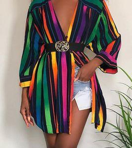 Womens Designer Shirt Dresses Fashion Rainbow Colors Striped Printed Summer Dress Long Sleeve Plus Size Women00