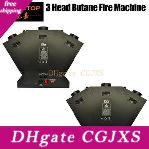 2pcs / Lot La Triple Máquina fuego proyector de la llama del efecto de etapa 3 Cabeza máquina de la llama proyector enviando control DMX512, Llama Hasta 1 -3 metros