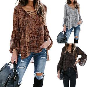 Designer Femmes T-shirts Leopard col V à manches longues Hauts mode sexy en vrac de Split Imprimé Femme T-shirts