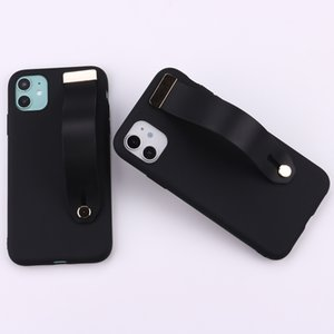 Fashion Suitable For IPhone11pro Max Pure Black Mobile Phone Shell Apple Xr Bracket Wrist Strap 12pro Protective Cover