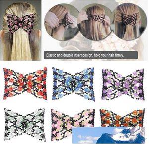 Vintage Jeweled wulstige elastische Stretch-Rosen-Blumen-Bogen-Glaskorn-Cuff Doppel Insert Clips Kopfbedeckung Magic Hair Comb 8 Farben
