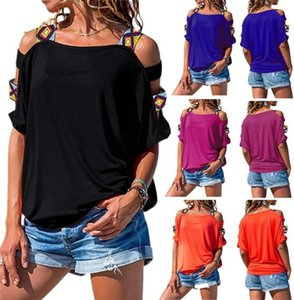 Women Hollow Out Strapless Tshirt Short Sleeve Pure Color Sunmmer Loose Tees Famale Casual Clothes