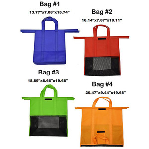 Cart Trolley Bag Grocery Grab Shopping Foldable Tote Eco-friendly Reusable Supermarket Bags 4pcs set MX200717