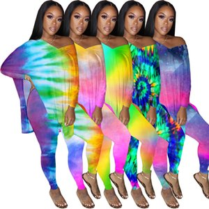 Designer Women Gradient Colors Printed V-neck Batwing Shirt Long Pants Two piece Set Outfits Club Fashion Ladies Casual Suit Plus Size 890