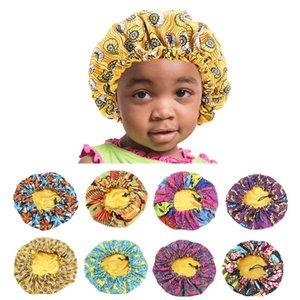 Caps Enfants d'Afrique cheveux Imprimer Ankara Bonnet Stain Silky Big Bonnet Enfants sommeil Bonnet de nuit Headwrap Chapeau cheveux Wrap Outils de cheveux