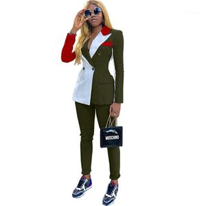 Blazers style femme Parchwork couleur contrastée Costumes Automne Pantalon Femmes Haut Bouton Mode droite Blazer Femmes Ensembles 2PCS OL