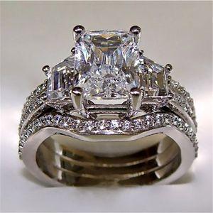 10K Vintage White Gold 3CT Lab Diamond Ring define 925 prata Bijou noivado casamento banda anéis para mulheres homens Jóias