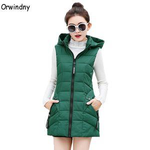 Orwindny M-4XL Outono acolchoado Vest mangas Colete Feminino Longo Inverno Mulheres Vest Jacket com capuz verde Aqueça Lady 6Colors