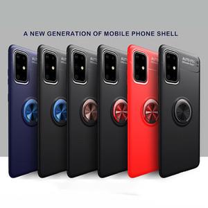 Pour Samsung Galaxy Note 20 S20 Ultra S10 plus couvercle en métal anneau en silicone téléphone pour l'iphone xs 12 11 pro max x xr 7 8 Plus
