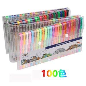 100 colori Gel Pen Set glitter Highlighter Pen per riviste disegno schizzo scarabocchiare Art Marcatori scuola rifornimenti Y200709