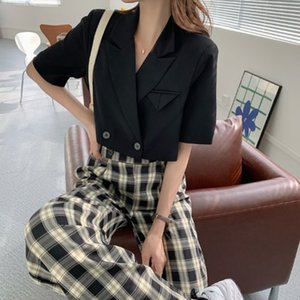 vo6aK # 2020 nova grande casaco calças perna larga coreano estilo casual xadrez calças wide-leg + terno gola casaco preto