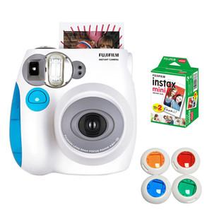 كاميرات الأفلام الأصل instax ميني 7 ثانية حزمة كاميرا فورية بو مع 10 صفائح فوجي هدية بيضاء تصفية الصورة عن قرب