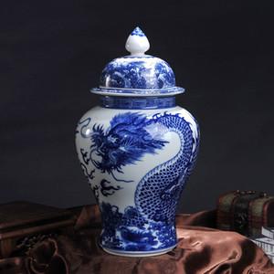 Jingdezhen Imitates classica blu e bianco porcellana del modello del drago Temple Jar Home Furnishings Decor vaso vaso di ceramica
