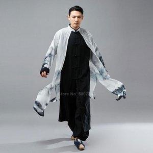 Lunga veste di lino chiffon Mantello falso 2PCs tradizionale cinese Tang vestito per gli uomini orientali Retro Kungfu Suit Hanfu Camicia abito