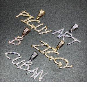 الهيب هوب فرشاة الخط مخصص رسالة قلادة قلادة مثلج خارج مكعب الزركون مجوهرات سحر رجال نساء