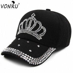Großhandel VONRU New Crown Strass Baseballmützen Mode Jean Hip-Hop Hut Frauen-Denim-Baseballmütze Sonnenhut b3ge #
