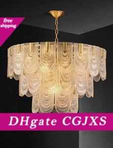 American Luxury Copper Glass Кри Led Chandelie Post Modern Retro Гостиная Столовая Спальня Потолочный светильник Myy