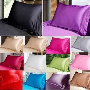 Taie d'oreiller en soie de couleur unie Pillowcases bonbons Mode Sofa Throw Coussin en satin de soie Taie d'oreiller Accueil Bureau Hôtel Décoration BWC919