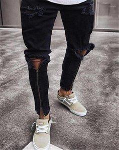 Mens Bleistift-Hosen-beiläufige Reißverschluss Männer Kleidung Loch Herren Designer-Jeans-dünner Zipper Panelled