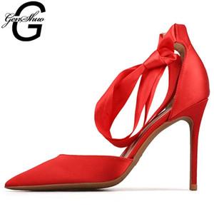 GENSHUO High Heels Rote Pumps Nude High Heel Brautschuhe schwarze Pumps Brautschuhe Estiletos Mujer 2020 Frauen Stilettos