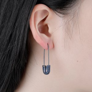 Korean Micro Pave Jewelry Copper with Diamond Model Safety Pin Earring Gold Plated Women Fashion Earrings