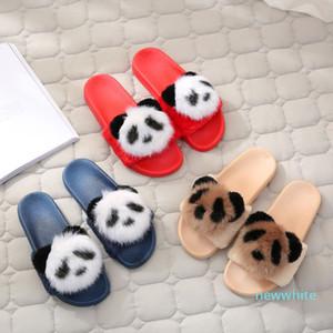 Горячая Продажа-Тапочки брачных Тапочки закрытого помещения Симпатичных панды сандалии Противоскользящего дом обувь женщина