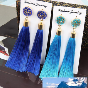 Fashion Bohemian Long Tassel Dangle Earrings Lotus Flower for Women Party Jewelry Accessory 9 Colours Beaitiful Earrings