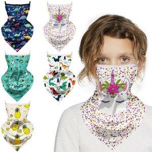Дети Мультфильм Маска для лица Unicorn Динозавр Печать Дети Защитные маски Магия задействуя шарф Маски банданы пыле Anti-UV Тюрбан для лица