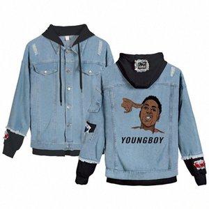 Inverno Jeans Jacket YoungBoy Nunca quebrou novamente Denim com capuz Jacket Brasão Masculino Outwear Streetwear Asiático Tamanho S 4XL Designer Jackets 8zdH #