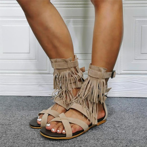 Sandals Tassel Rome Flat With Open Toe Cut Out Ankle Buckle Shoes Summer Ladies Casual Custom Made Real Picture