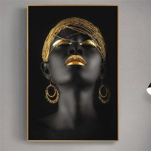 Black African Woman Oil Paintings on Canvas Golden Makeup Portrait Posters and Prints Scandinavian Wall Pictures Home Decoration