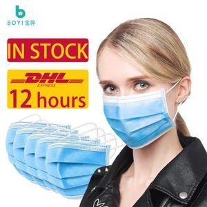 ABD'ye Tek Kullanımlık Yüz Maskesi DHL Teslim 3-10, Mavi 3 kat Nefes Elastik Küpe Koruyucu Anti Toz Kirliliği