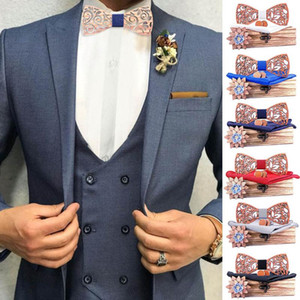 Manual Wooden Bow Tie Handkerchief Set Men's Bowtie Wood Hollow Carved And Box