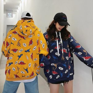 Ulzzang autumn female Harajuku fashion sweatshirt casual large size loose M 2XL dinosaur cartoon hooded ins Pullovers Sweatshirt