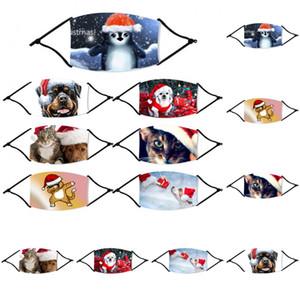 ações dos EUA dos desenhos animados 2020 Máscaras de Natal Kids Animal Cat Dog impresso voltado Xmas Máscaras Anti Poeira cobrir a boca lavável reutilizáveis com filtro FY4235