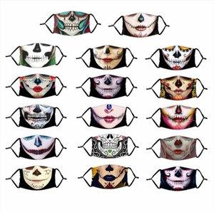 Masques Halloween numérique magique 3D adultes Imprimer Masque Dia De Muertos Crâne bouche Couverture PM2,5 Masque avec filtre LSK1046 Masque réglable