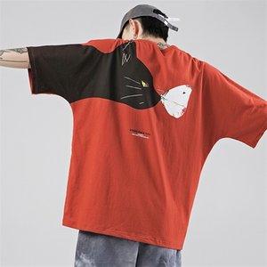 iiDossan gran tamaño HipHop T Shirts Hombres ratón divertido del gato camiseta de impresión Streetwear mujeres de la ropa de moda de tendencias Streetwear Tops 0921