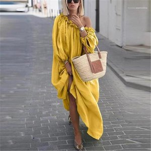 Graceful Womens Casual Dresses Fashion Slash Neck Solid Color Womens Long Dresses Casual Designer Females Clothing Multiple Styles