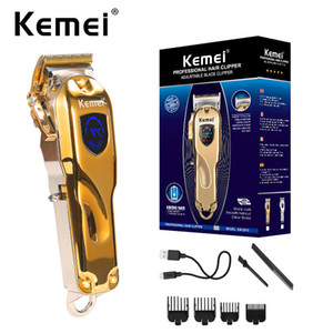 New KEMEI KM-2010 Professional Hair Trimmer Cordless Hair Cutter Barber Hair Clipper 4 Lever Blade Adjustment LCD Display Beard 2010 Trimmer